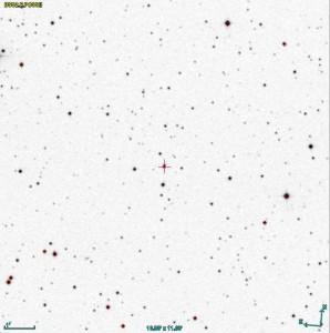 Ed ecco un'immagine a colori invertiti della nuova variabile (indicata dal cerchietto e dalla croce al centro)